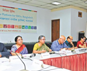 Rights activist Sultana Kamal speaks at a media briefing of the launching of Citizen's Platform for SDGs, Bangladesh in the capital's Cirdap auditorium yesterday, organised by the Centre for Policy Dialogue (CPD). Photo: Star